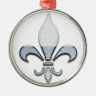 Fleur de Lys Rundes Silberfarbenes Ornament
