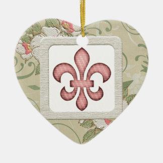 Fleur de Lys und Blumen Keramik Herz-Ornament