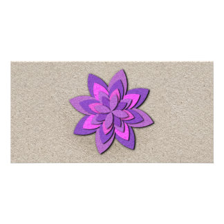 Fleur de papier pourpre et rose cartes de vœux avec photo