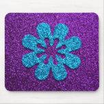 Fleur de pourpre et de scintillement bleu rétro tapis de souris