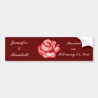 """Fleur de rose rouge de """"anniversaire/date de maria autocollant de voiture"""