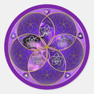 Fleur de Vénus du rose violet de fineART d'amour Sticker Rond