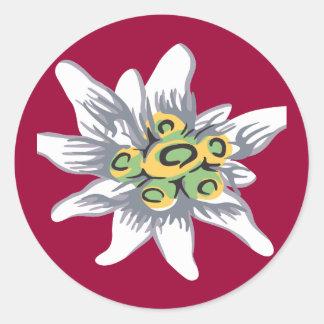 Fleur d'edelweiss sticker rond