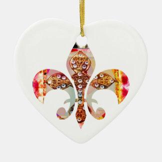Fleur di Lis Flowers Blumenjuwel-Muster Keramik Herz-Ornament