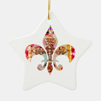 Fleur di Lis Flowers Blumenjuwel-Muster Keramik Stern-Ornament