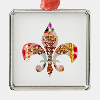 Fleur di Lis Flowers Blumenjuwel-Muster Silbernes Ornament