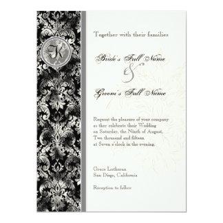 Fleur di Lys Damask - schwarze Hochzeits-Einladung 16,5 X 22,2 Cm Einladungskarte