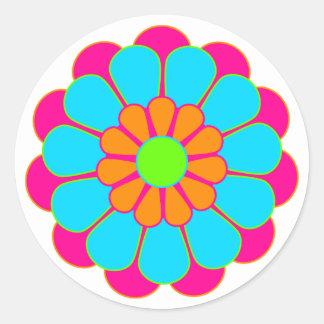 Fleur drôle III de flower power Adhésif Rond