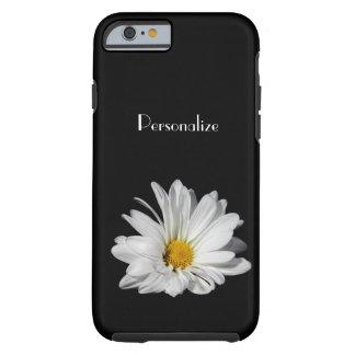 Fleur élégante de marguerite blanche avec le nom coque iPhone 6 tough