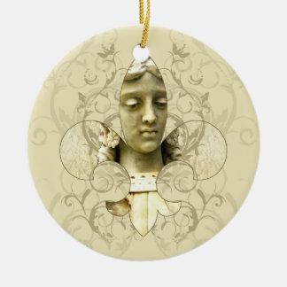 Fleur Engels-Statueverzierung Rundes Keramik Ornament