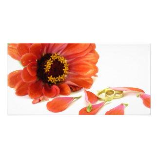 fleur et anneaux cartes avec photo