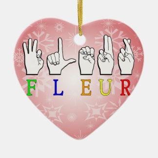 FLEUR FINGERSPELLED ASL NAMENSzeichen Keramik Herz-Ornament