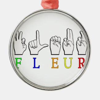 FLEUR FINGERSPELLED ASL NAMENSzeichen Rundes Silberfarbenes Ornament