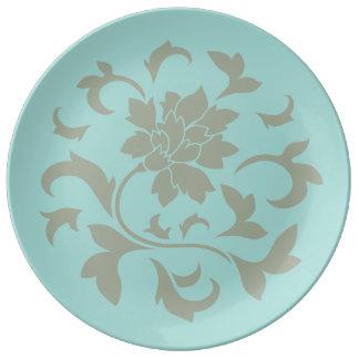 Fleur orientale - ventouse Shell - vert olive Assiettes En Porcelaine