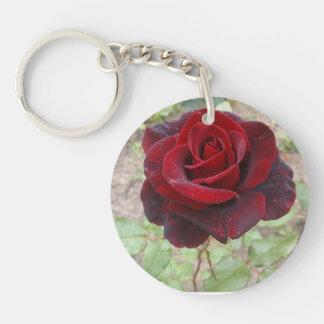 Fleur pleurante porte-clé rond en acrylique une face