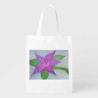 fleur pourpre aléatoire sac d'épicerie