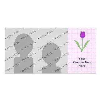 Fleur pourpre de tulipe cartes de vœux avec photo