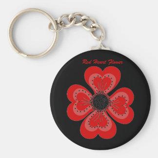 Fleur rouge de coeur de porte - clé sur le noir… - porte-clé rond