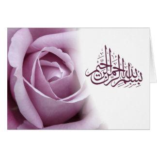 Fleur rouge de rose de rose de calligraphie carte de vœux