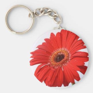 Fleur rouge porte-clé rond