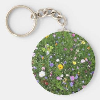 Fleurs alpines porte-clé rond