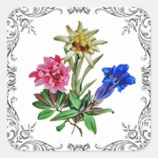 Fleurs alpines sticker carré