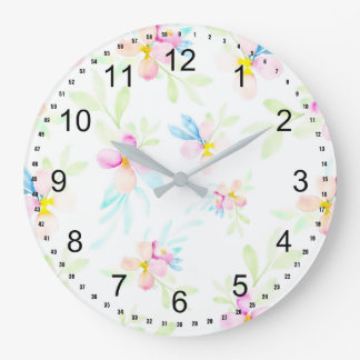 Fleurs assez roses d'aquarelle grande horloge ronde