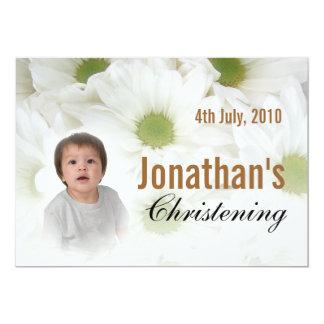 Fleurs blanches d'invitation de baptême de bébé carton d'invitation  12,7 cm x 17,78 cm