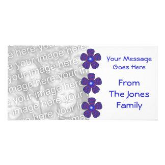 fleurs bleues carte avec photo