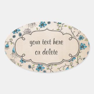 fleurs bleues lunatiques sur le beige stickers ovales