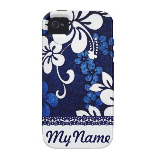 Fleurs bleues personnalisées d'Hawaï Coque iPhone 4 Vibe
