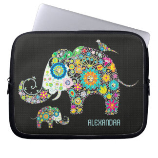Fleurs colorées de forme d'éléphant rétros housse ordinateur portable