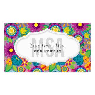 Fleurs colorées de salon floral de flower power carte de visite standard