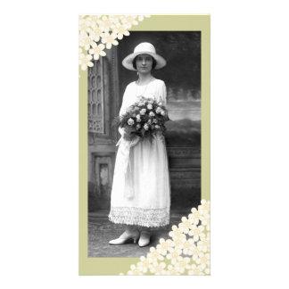Fleurs crèmes cartes de vœux avec photo