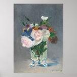 Fleurs dans un vase en cristal, c.1882 (huile sur  poster