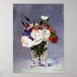 Fleurs dans un vase en cristal par la copie de Man Affiche