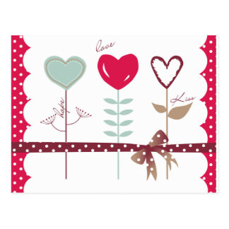 Fleurs de coeur - baisers d'espoir d'amour cartes postales