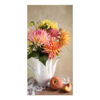 Fleurs de dahlia cartes avec photo