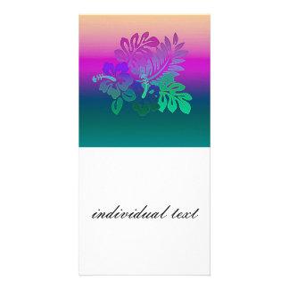 fleurs de gradient, aqua photocarte personnalisée