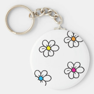 Fleurs de marguerite porte-clé rond
