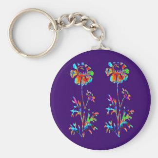 Fleurs de scintillement porte-clés