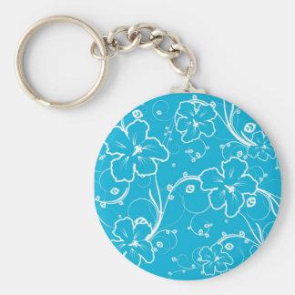 Fleurs de turquoise porte-clé rond