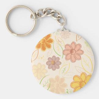 Fleurs et feuille porte-clés