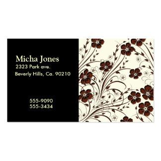 Fleurs et vignes brun chocolat jaunes crémeuses modèle de carte de visite