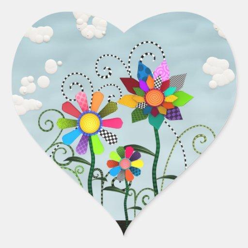 Fleurs lunatiques autocollant en cœur