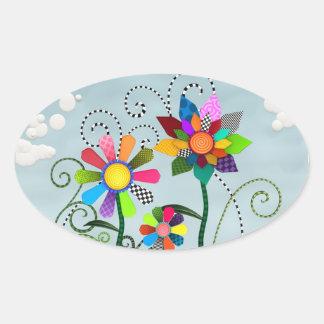 Fleurs lunatiques autocollant ovale