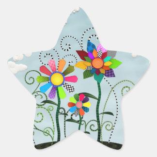 Fleurs lunatiques sticker en étoile