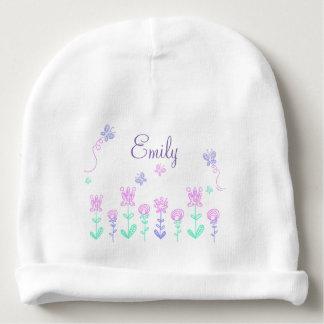 Fleurs personnalisées et casquette nommé de bébé bonnet pour bébé