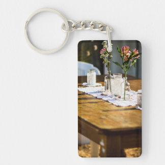 fleurs, pots et napperons porte-clé  rectangulaire en acrylique une face