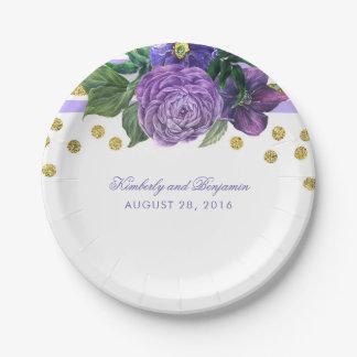 Fleurs pourpres d'aquarelle et confettis d'or assiettes en papier